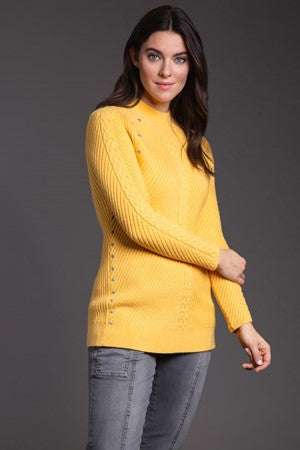 Long Sleeve Mock Neck Rib Sweater