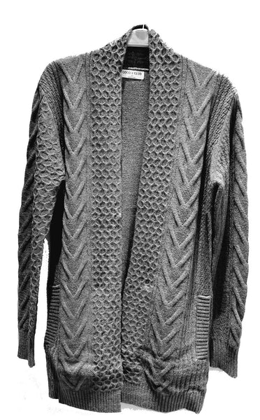 3/4 Open Front Textured Cardigan