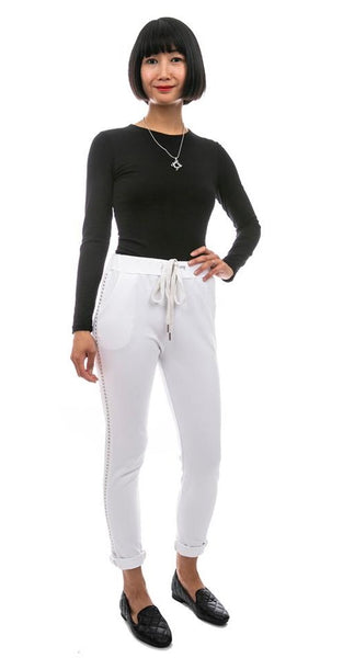 Stud Trim Pants - Italian