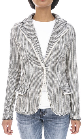 Tweed One-Button Jacket - Italian
