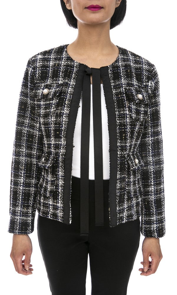 Open Front Knit Blazer