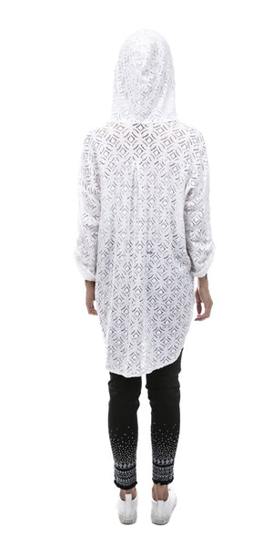 Lace Hooded Button Front Tunic - Italian