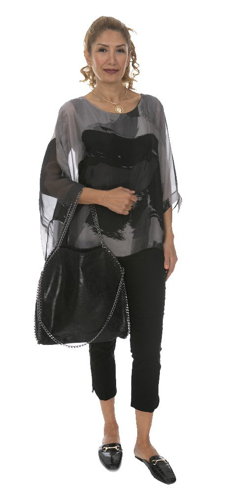Abstract Print Silk Poncho Blouse - Italian