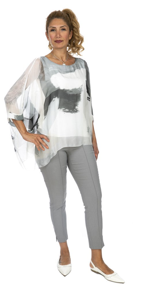 Abstracted Print Silk Poncho Blouse - Italian