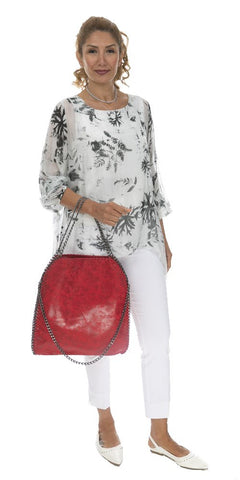 Long Sleeve Floral Silk Blouse - Italian