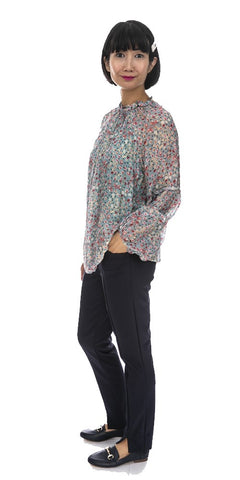 Long Sleeve Floral Silk Top - Italian