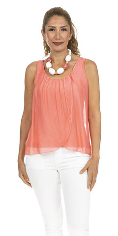 Sleeveless Layered Silk Top - Italian
