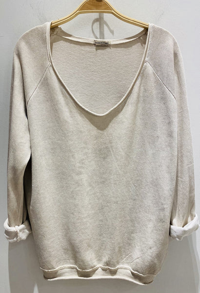 Long Sleeve Metallic Sweater - Italian