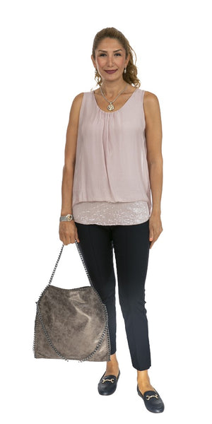 Sequin Layered Silk Top- Italian