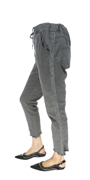 Side Trim Drawstring Casual Pants - Italian