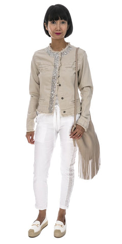 Sequin Trim Cotton Jacket - Italian