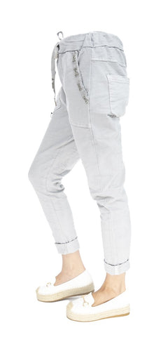 Stud Trim Pocket Casual Pants - Italian