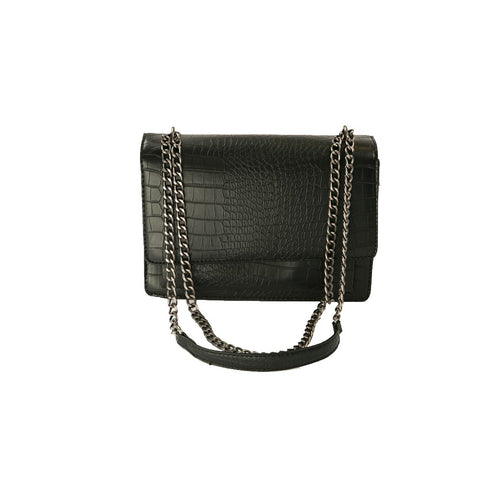 Crocodile-Embossed Chain Strap Purse