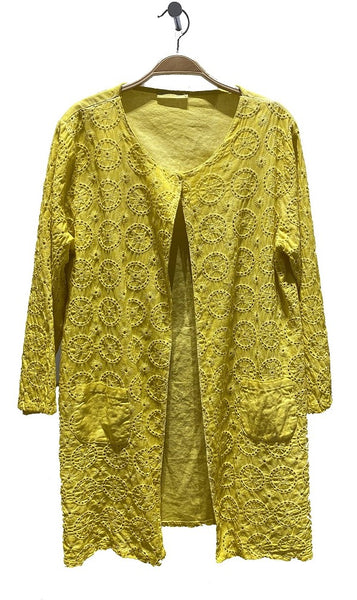 3/4 Embroidered Linen Cardigan - Italian