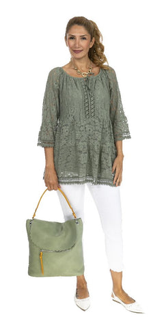 3/4 Sleeve Lace Tunic - Italian