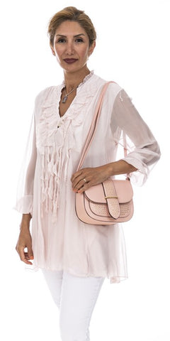 Ruffled Neck Silk Tunic - Italian