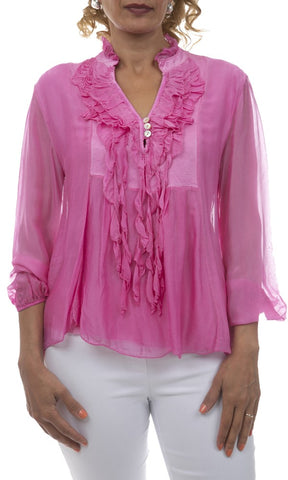 Ruffled Neck Silk Top - Italian