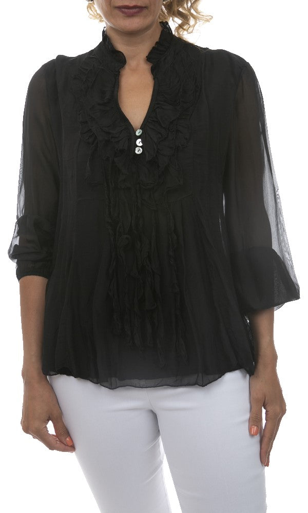 Ruffled Silk Top - Italian