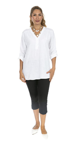 Roll-Up Sleeve Linen Top - Italian