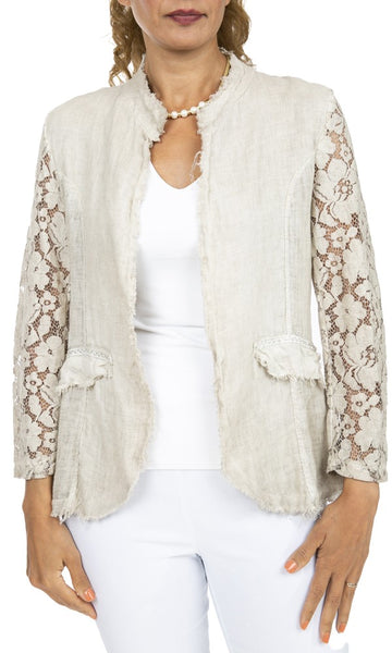 Lace Sleeve Linen Jacket - Italian