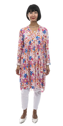 High & Low Floral Print Tunic - Italian