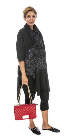 Graphite Print Tunic With Scarf - Italian