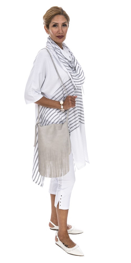 Stripe High/low Tunic With Scarf - Italian