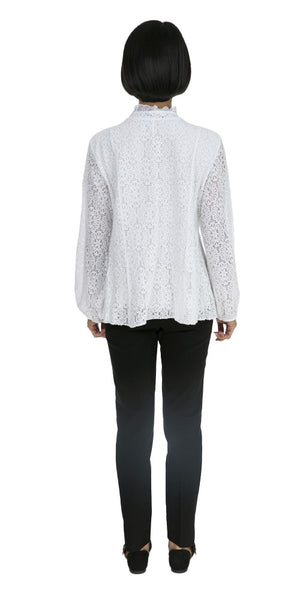 Ruffled Front Lace Top - Italian