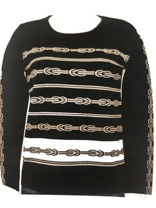 Long Sleeve Chain Print Sweater