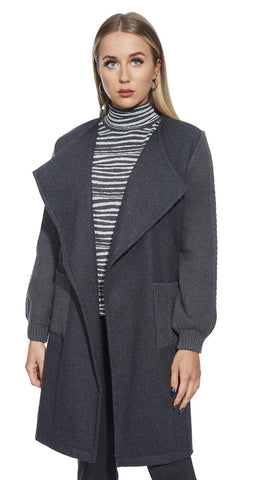 3/4 Belted Wool Coat Cardigan