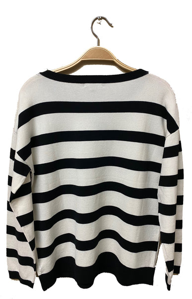 Stripe Sequin Front Sweater