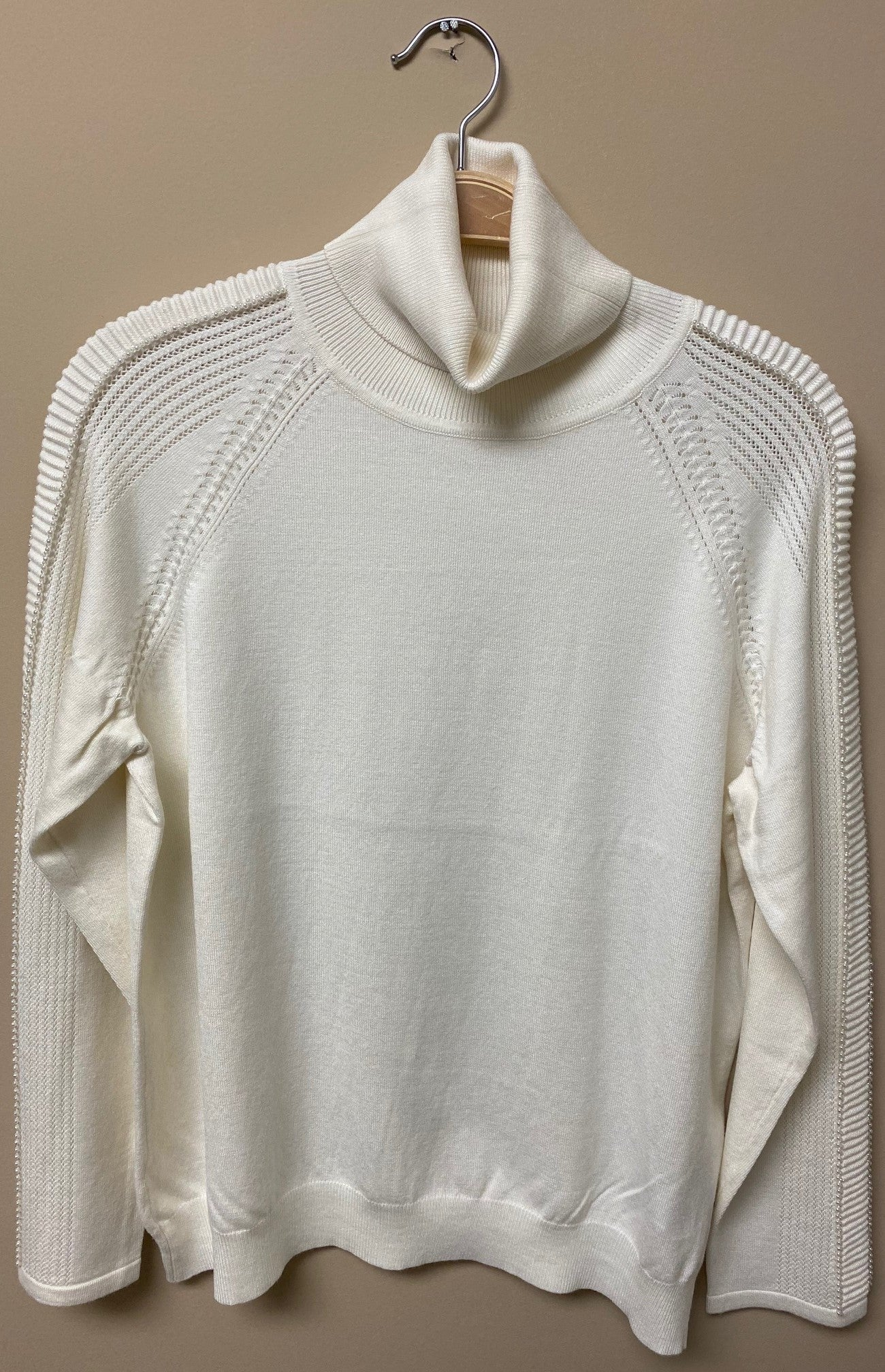 Turtle Neck Pearl Sleeve Sweater