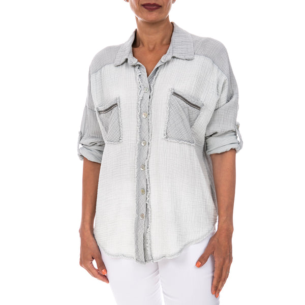 Roll-Up Sleeve Casual Top - Italian