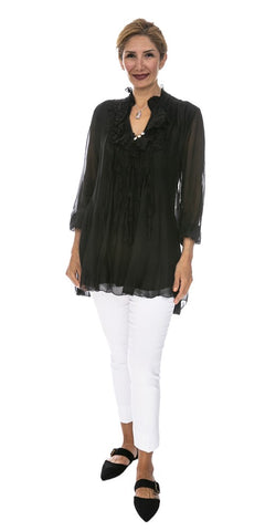 Ruffled Silk Tunic - Italian