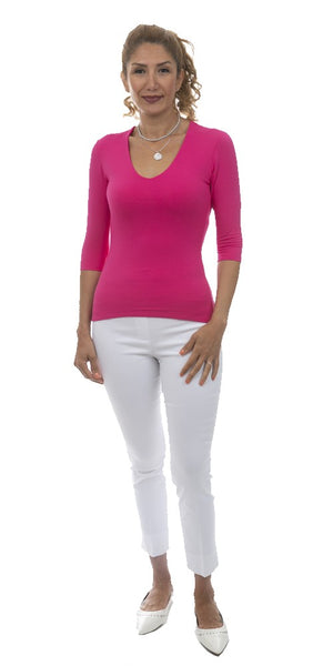 3/4 Sleeve V-Neck Top