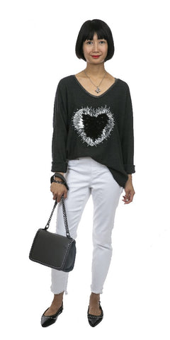 Heart Front Light Sweater- Italian
