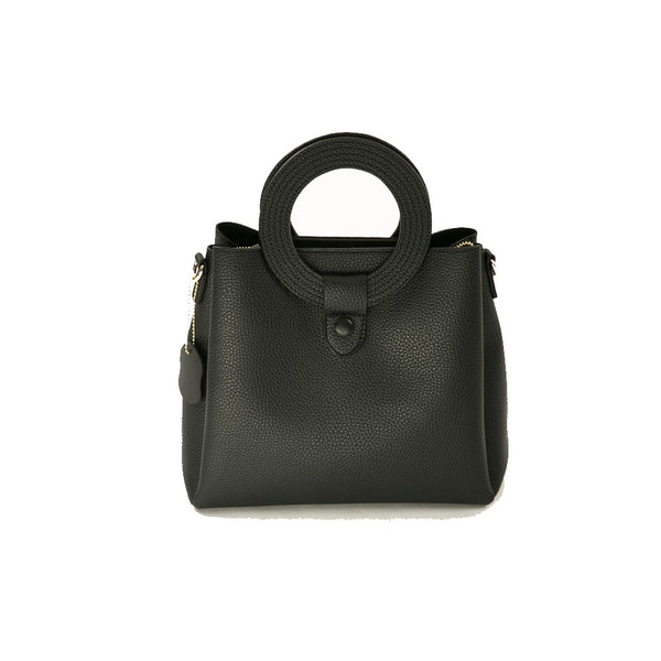 Textured Faux-Leather Satchel