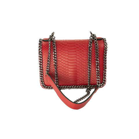 Chain Trim Crocodile-Embossed Purse