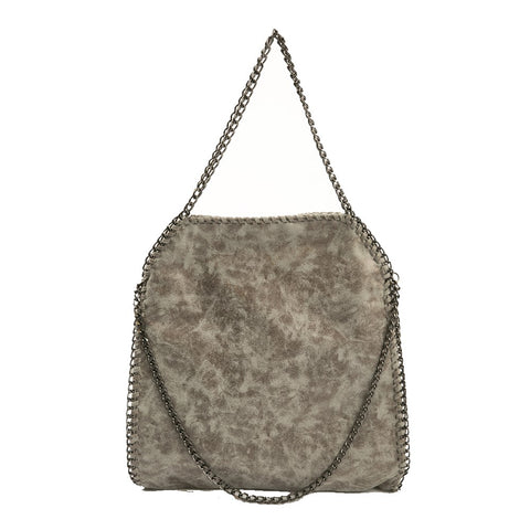 Chain Trim Faux-Leather Bag