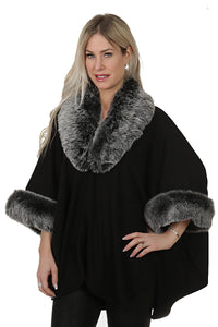 Fur Trim Knit Cape