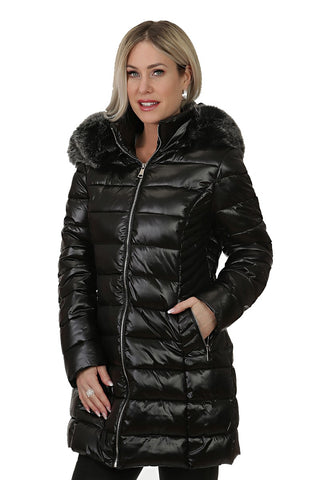 3/4 Puffer coat  with Removable Fur Hoodie