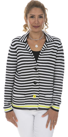 Knit Stripe Cotton Blend Jacket
