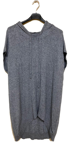 High-Low Sleeveless Hooded Knit Tunic - Italian