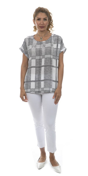 Short Sleeve Plaid Blouse