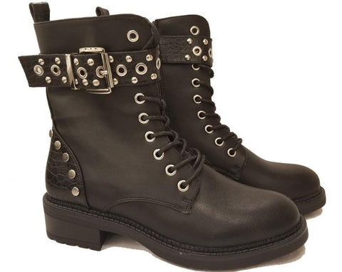 Stud Detail Laced Ankle Boot