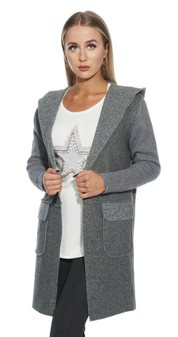 3/4 Hooded Detail outdoor Cardigan