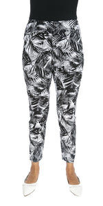 Leaf Print Stretchy Ankle Pants