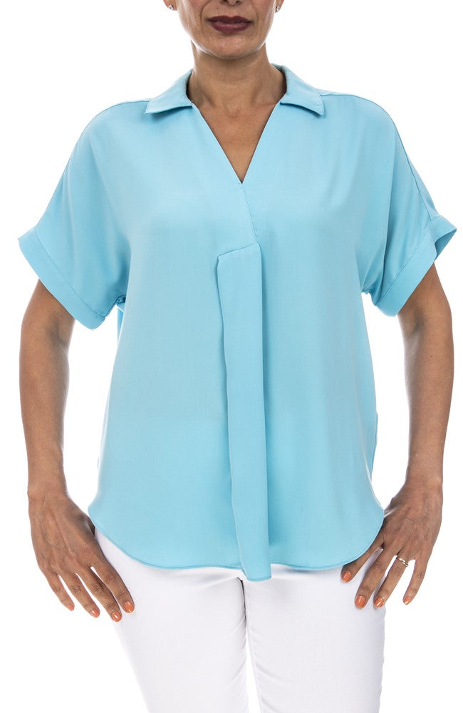 Short Sleeve Detail Front Blouse