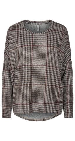Long Sleeve High-Low Checked Top