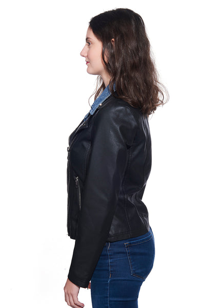 Jean Collar Faux-Leather Biker Jacket